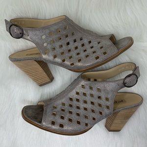 Paul Green Metallic Perforated Leather Heel 6.5